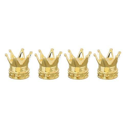 (4 Stück PKW Ventil / AV – Autoventil / Schrader / Kunststoff Ventilkappen auch geeignet für Motorrad & Fahrrad im Kronen Crown Design King Style Caps in gold)