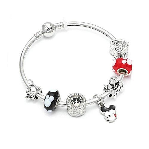 Unbekannt Générique Armband im Pandora-Stil, Disney-Charms, Rot/Schwarz / Silber (Disney Armband)