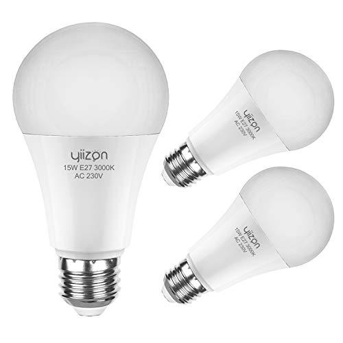 Yiizon LED M Glühbirne, E27, 15W, entspricht 120 W Glühlampe, 3000 K Warmweiß, 1350LM, CRI>80 +, kleine Edison-Schraube, nicht dimmbar Kandelaber LED Glühlampen(3 PCS) -