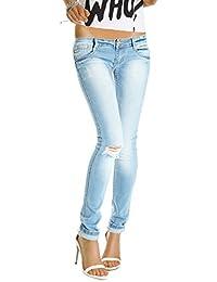 Bestyledberlin Damen Jeans Hüftjeans Skinny Röhrenjeans Damenjeans Hose Risse am Knie j129p