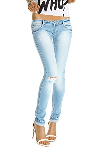 Bestyledberlin Damen Jeans Hüftjeans Skinny Röhrenjeans Damenjeans Hose Risse am Knie j129p 38/M