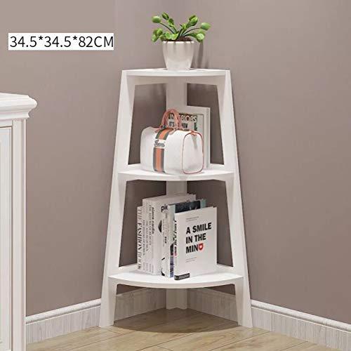 Kitchen furniture - Etagère de rangement multi-fonctions pour étagère de rangement en bois massif, support d'angle multicouche WXP (Couleur : Blanc, taille : 34.5X34.5X82CM)