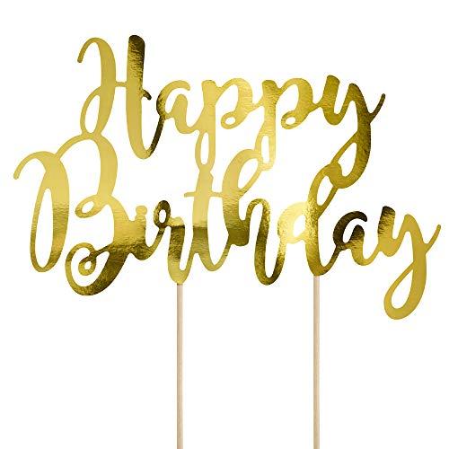 DekoHaus Cake-Topper Kuchendeko - Tortendekoration (Happy Birthday Gold)