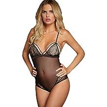 La Vogue Body Femme Combinaison Noir Tulle Transparent Lingerie String