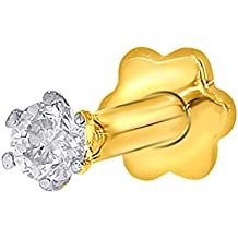 2.4mm Real I1 diamante nariz / labio Labret tornillo Stud piercing anillo hueso 18k oro