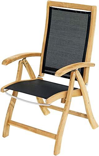 Ploß 1011690 Gartenstuhl-Hochlehner Teak Textilene verstellbar klappbar 60 cm breit 72 tief und 108 cm hoch