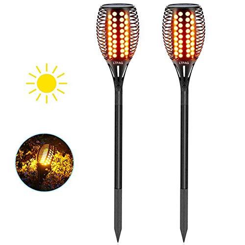 Solar Gartenleuchte, LTPAG 2 Stück Solarlampen für Außen LED Solar Taschenlampe, 96 LED Bis Dawn Automatische Ein/Aus(Licht Sensor), IP65 Wasserdicht Solar Garten Flammeneffekt Deko Weihnachten