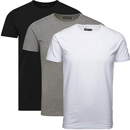 JACK & JONES Herren 3er Pack Basic T-Shirt V-Ausschnitt Rundhals Einfarbig Slim Fit Weiß Schwarz Blau Grau Mix S,M,L,XL,XXL (L, Mix 3er Pack O-Neck ohne Wäschenetz)