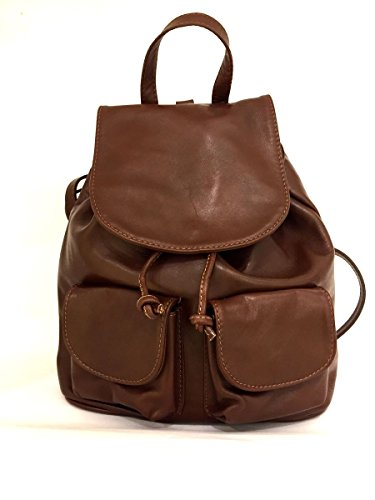 Rucksack aus echtem Leder mit Taschen aus italienischen Leder-Zeta shoes marrone MainApps (Echt Leder Rucksack)