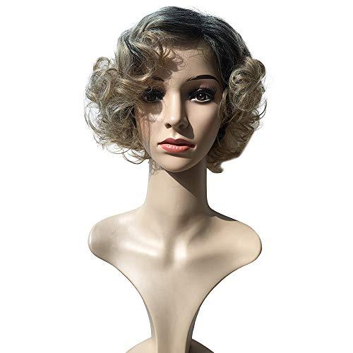 AMUSTER Stilvolle Shaggy Blonde Kurz Synthetische Perücke Kurzhaar -