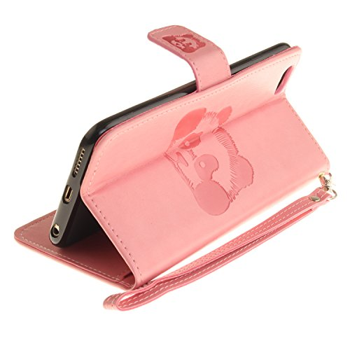 Custodia iPhone 6s Plus Case, SsHhUu Cover Portafoglio in Vera Pelle [Carta Fessura] [Magnetica Chiusura] con Penna Capacitiva e Lanyard per Apple iPhone 6 Plus / 6s Plus (5.5) Grigio Rosa