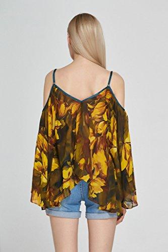 Smile YKK Chemise Mousseline de Soie Femme T-shirt Epaule Nue Grande Taille Blouse Imprimé Top Eté Marron