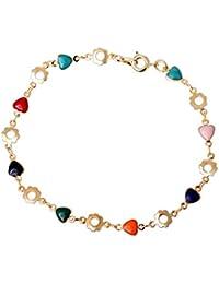 YAZILIND de las mujeres chapado en oro 18K Cadena Multicolor Zircon clásico en forma de corazón brazalete de la pulsera de regalo