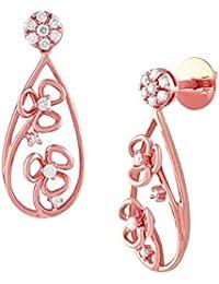 TBZ The Original 18KT Rose Gold and Diamond Drop Earrings for Women