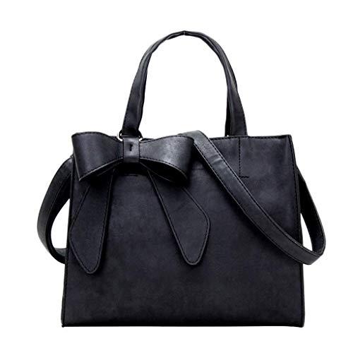 VADFLOD Damen Leder Satchel gewaschen Peeling Leder Aktentasche Pu-Leder Griff mit Schleife Umhängetasche innen Multi-Pocket-Handtasche Einfache Business Lady Messenger Bag (dunkelgrau), schwarz -
