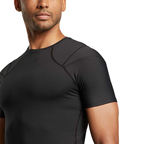 305a41a900 Tommie Copper Men's Shoulder Centric Support Shirt Short Sleeve, Black,  Small