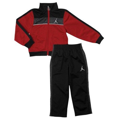 Jordan Jungen Jacke (Jordan Nike Kinder Jungen Sport Outfit Jogginganzug Jacke + Hose Rot Schwarz (116))