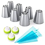 SUPOW 7-peices Russian Piping Tips - Set of 13-Piece Cake Decorating Nozzles with 3 Different Size Silicone Piping Bags + 3 Tri-Color Coupler Decorating Tool