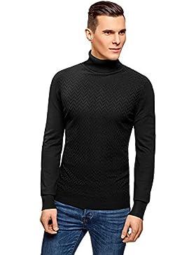 oodji Ultra Hombre Suéter de Punto con Decoración Texturizada