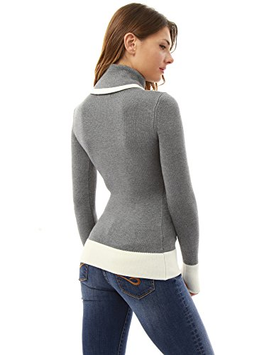 PattyBoutik Damen Rollkragenpullover aus weicher Strickware mit colour blocking Grau und Elfenbein