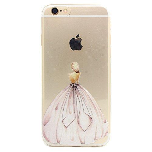 JIAXIUFEN Neue Modelle TPU Silikon Schutz Handy Hülle Case Tasche Etui Bumper für Apple iPhone 6 6S - Amüsant Wunderlich Design Giraffe eating Apple Color24
