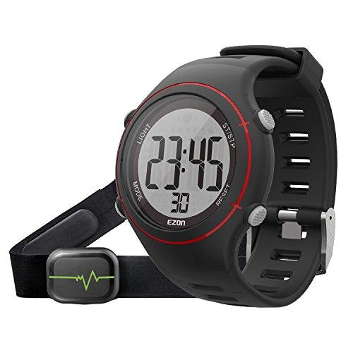 EZON T037 Herren Sport Digitaluhr Outdoor Laufen Armbanduhr mit Brustgurt Herzfrequenz Monitor Alarm Stoppuhr (Rot)