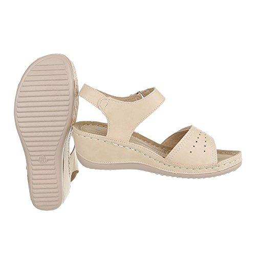 Keilsandaletten Damenschuhe Plateau Keilabsatz/ Wedge Keilabsatz Klettverschluss Ital-Design Sandalen / Sandaletten Beige