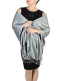 Pashmina bufanda femenina- Acabado de borlas - Percha gratuita – Más de 20 colores -