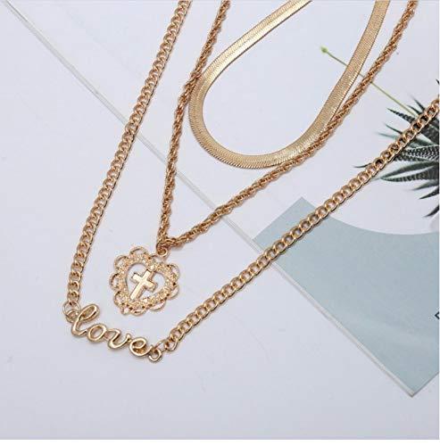 XZZZBXL Damen Halskette Multilayer In Der Nähe Von Zarten Herzen Kette Halsband Jesus Kreuz Anhänger Buchstaben Liebe Halskette Für Frauen