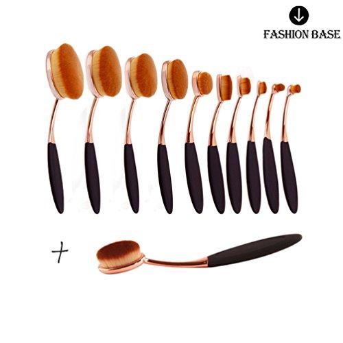 Fashion base Hot 11PCS rose Golden beauty New Elite ovale dente design spazzola di trucco per applicare cosmetici prodotti Amazing set