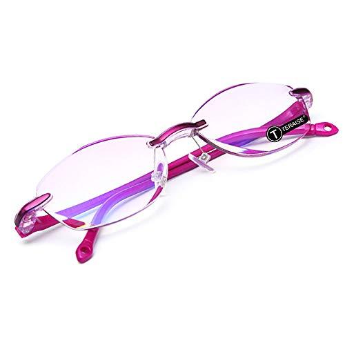 TERAISE Randlose Lesebrille Mode Diamant Cut Edge Design anti-blau Objektiv Brillenleser für Frauen(1.0x)