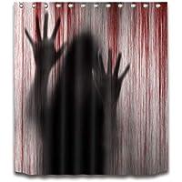 Cortina de la ducha XINGUANG Halloween Cortina De Partición De Impresión Poliéster 100% (Huella De Sangre De Horror 180cm * 200cm) Cortina
