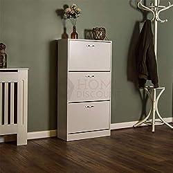 Home Discount Vida Designs 3 Drawer Shoe Cabinet Cupboard Shoe Storage Organiser Pull Down Wooden Furniture Unit, White