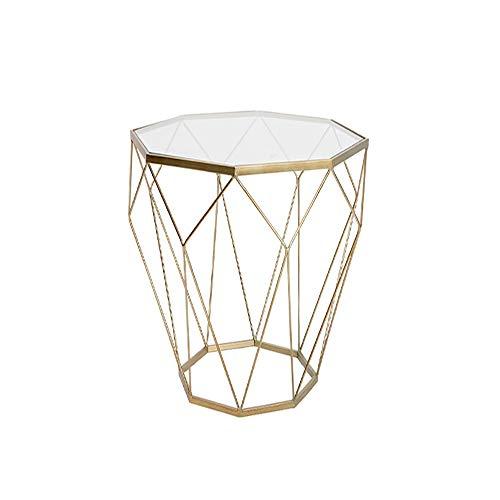 M-Y-S Table de chevet, mobilier nordique salon en fer forgé table basse en verre trempé table ronde table à thé minimaliste moderne (46X56cm) (Couleur : Or)
