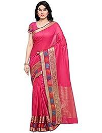 Vaamsi Women's Cotton Silk Saree With Blouse Piece(Silkjaq1075_Pink_Free Size)