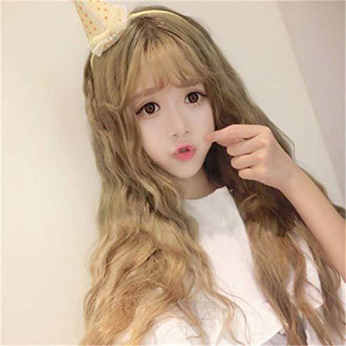 WIG MINE Mode perruque femme air fringe feux d'artifice longs cheveux bouclés personnalité non-dominante rouleau d'oeufs clair or jaune faux cheveux Femme Fringe