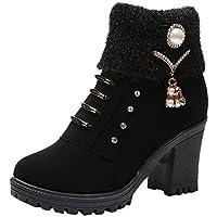 Gusspower Botas de Tacón,Mujer Zapatos Altos Talones Botines de Martin Talon Grueso Zapato con Moda Rhinestone