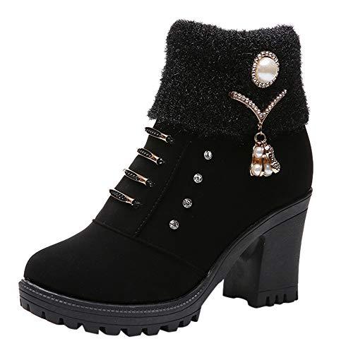 Dorical Stiefeletten Damen Starke Ferse High Heel Stiefel mit Crystal und Kurzer Plüsch Boots Winterstiefel Schuhe Ankle Kurzschaft Mittlerer Absatz Blockabsatz Gr 36-40