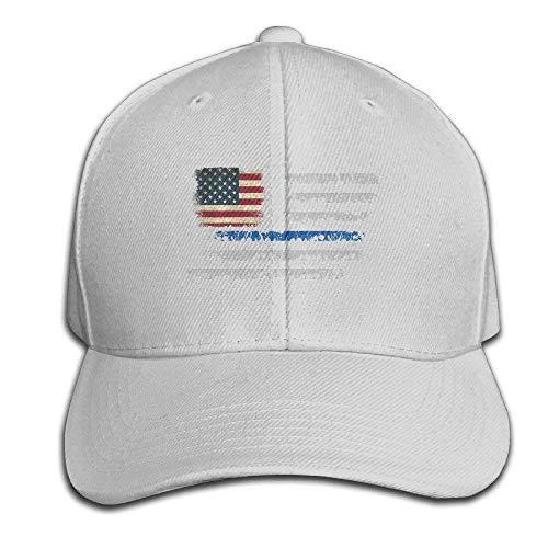 Customized Thin Blue Line American Flag Cotton Baseball Cap Peaked Hat Adjustable for Unisex Black V003584 -