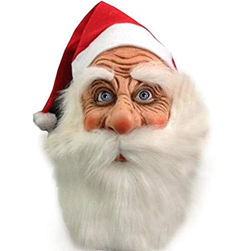 Bonboho Maske Weihnachtsmann mit Weihnachtsmütze und Bart für Nikolaus Weihnacht Weihnachten Weihnachtsmaske Santa Claus Karnevalsmaske Faschingsmaske -