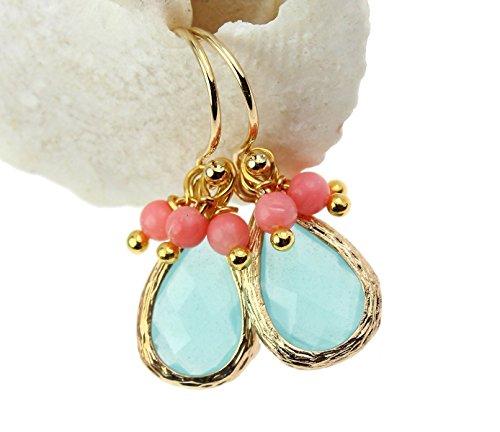 Ohrringe Ohrhänger Kristall Tropfen- Anhänger Koralle Farbe: Gold