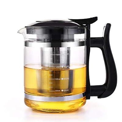 Q-HL Théières En fonte japonaises théière Théière en verre transparent à haute résistance avec filtre et couvercle pour infuseur en acier inoxydable 304 pour thé en vrac pour thé et café (1500ML)