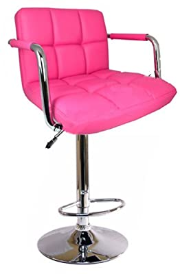Bargains-galore® Brand New Breakfast Bar Stool Faux Leather Barstool Kitchen Stools Chrome Chair Pink