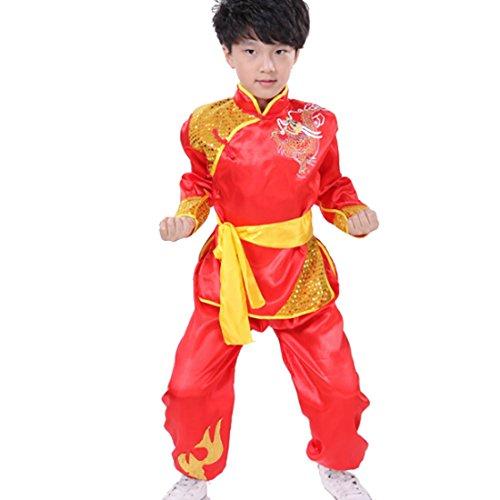 Yefree Kinder Kampfkunst Performance Kleidung Kungfu Kleidung Übung Kleidung Jungen und Mädchen Kungfu Performance Kleidung