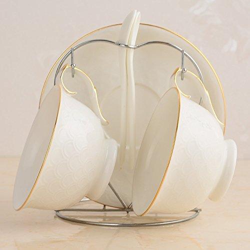 FAN4ZAMEHome Keramik Kaffeetasse Setafternoon Cup Sets Von Combinationscoffee Cup Set 2 Sets Des Hochwertigen Keramischen Kreative Bone China Kaffeetasse Teller Löffel Regal Set Milchig Weiß