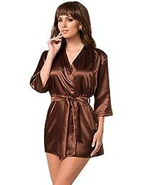 Naughty Bitz Beautiful Chocolate Classic Block Colour Short Dressing Gown Peignoir Robe