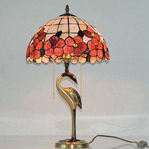 Tiffany Stehlampe Kupfer (Tischlampe im Tiffany-Stil, Tischlampe aus Glas Modell mit Tischlampe aus Kupfer im Schwanenhaus, für Wohnzimmer, Schlafzimmer, Restaurant, 12 Stehlampe)