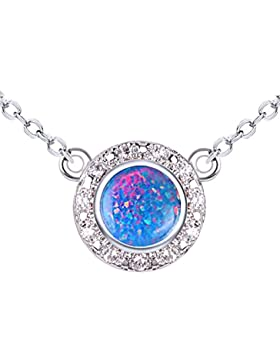 Initiale Collier syuthetic Opal & CZ Oval Anhänger mit 40,6–45,7cm Kette