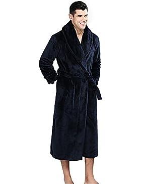 Camisón de franela de invierno de los hombres albornoz grueso manga larga Loungewear, M-XXL , navy blue , xxl