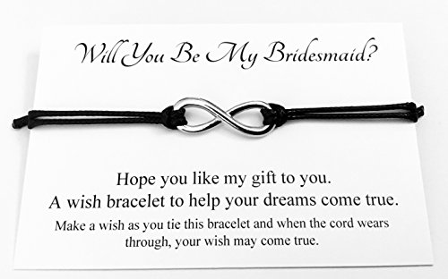 Will You Be My Bridesmaid Wedding Infinity Charm Wish Bracelet Card Gift Bag Friendship charmed Bracelet Party Favour(Hand made in UK) (Black)